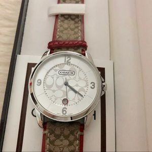 Authentic Coach Signature C Watch 🍁 Red/Khaki